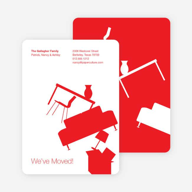 Modern Furniture Change of Address Card - Red