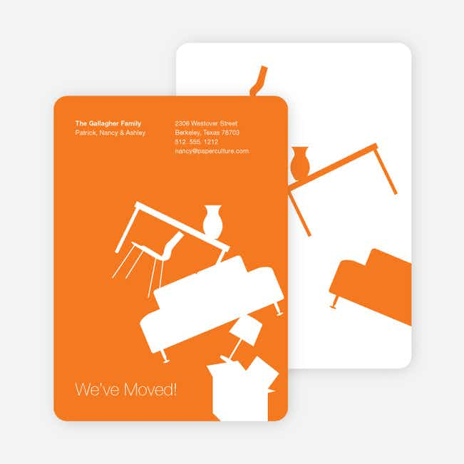 Modern Furniture Change of Address Card - Orange