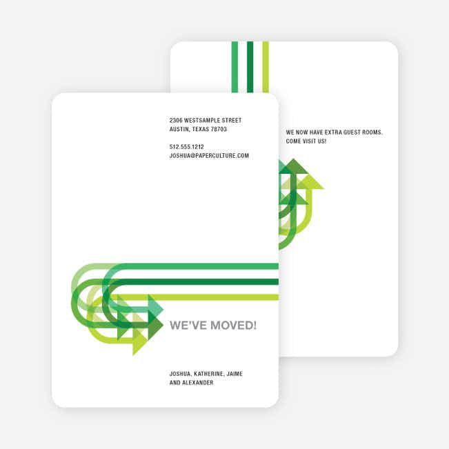 Moving on Up Moving Card - Apple Green