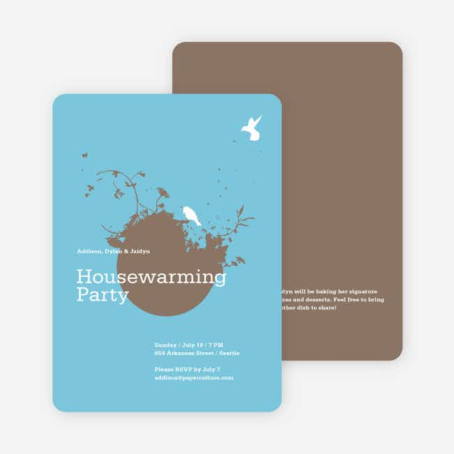 New Nest Housewarming Party Invitations - Cornflower Blue