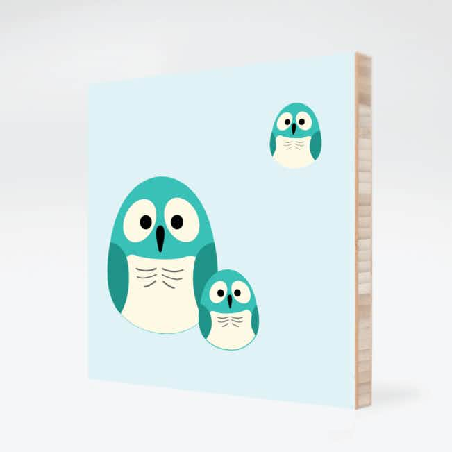 Owl Family Bamboo Wall Art - Light Mocha