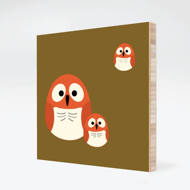 Owl Family Bamboo Wall Art - Baby Blue