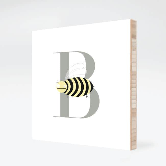 B Bee Monogram Bamboo Art - Warm Gray