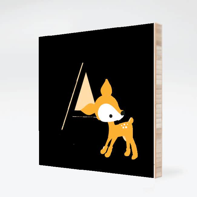 Dear Deer Bamboo Wall Art - Peach Orange