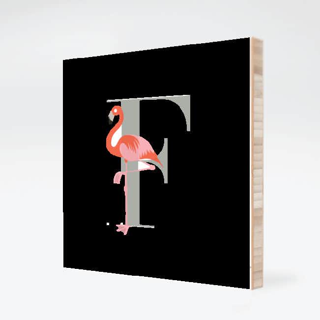 F Flamingo Monogram Bamboo Art - Warm Gray