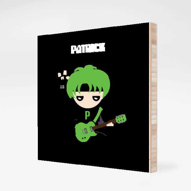 Guitar Hero / Rock Band Bamboo Wall Art - Green Guitar