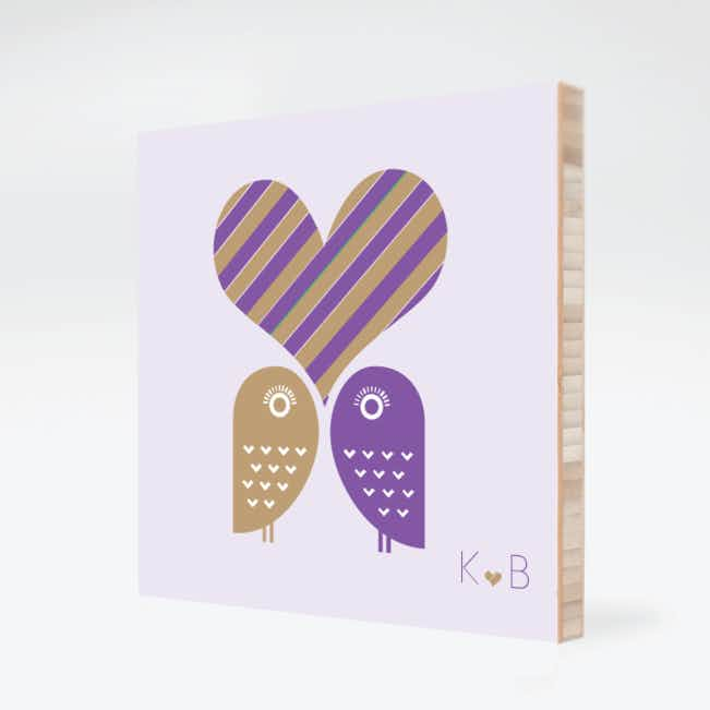 Owls in Love Bamboo Wall Art - Grape