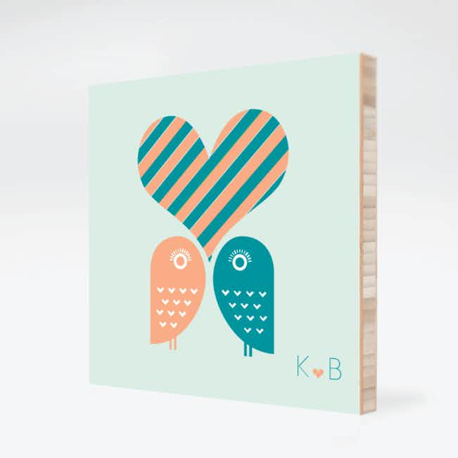 Owls in Love Bamboo Wall Art - Teal