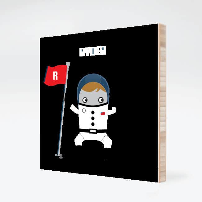 Personalizable Astronaut Bamboo Wall Art - Blueberry