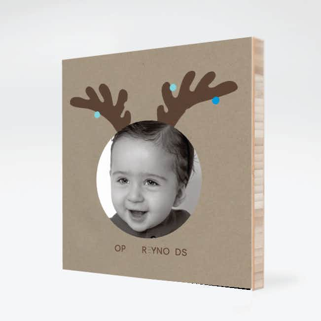 Reindeer Antlers Holiday Photo Wall Décor - Light Blue