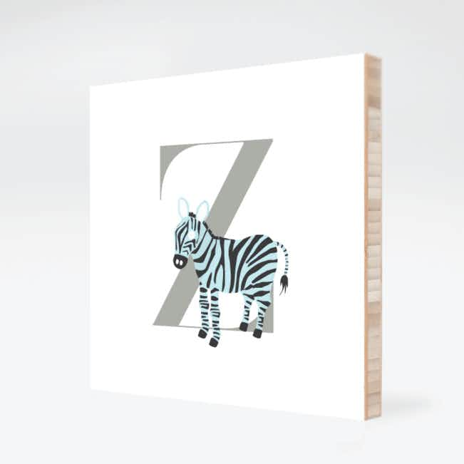 Z Zebra Monogram Bamboo Art - Warm Gray