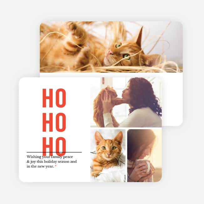 Ho Ho Ho Christmas Cards - Red
