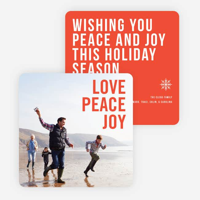 Big and Bold Text Holiday Cards - Red