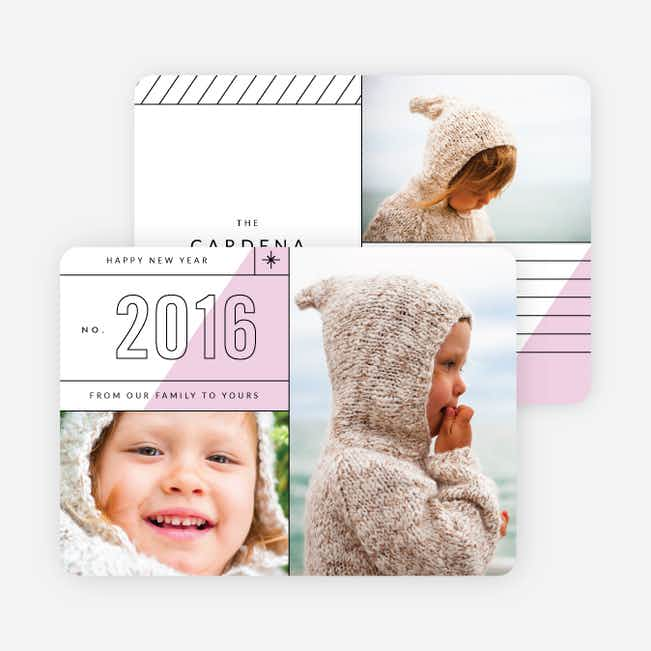 Diagonal Lines New Year Cards - Purple