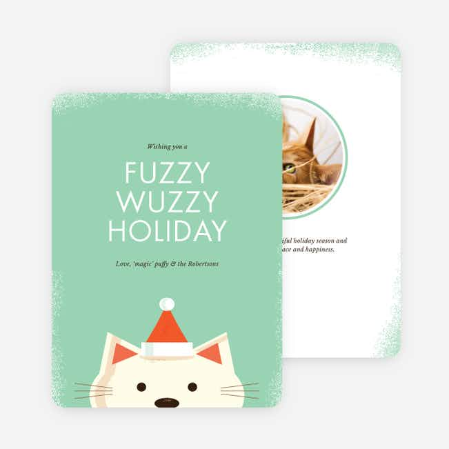 Fuzzy Wuzzy Cat Holiday Cards - Green