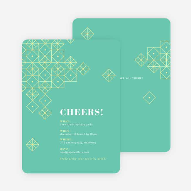Festive Décor Holiday Party Invitations - Green
