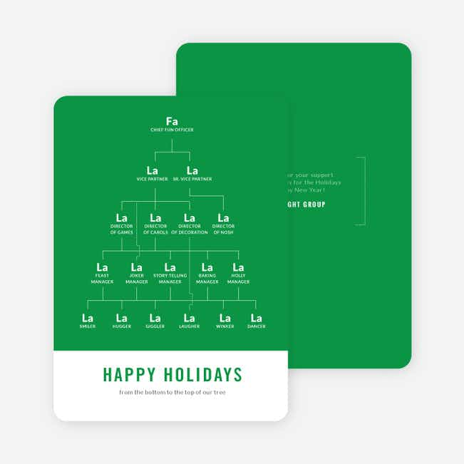 Festive Org Chart Corporate Holiday Cards - Green