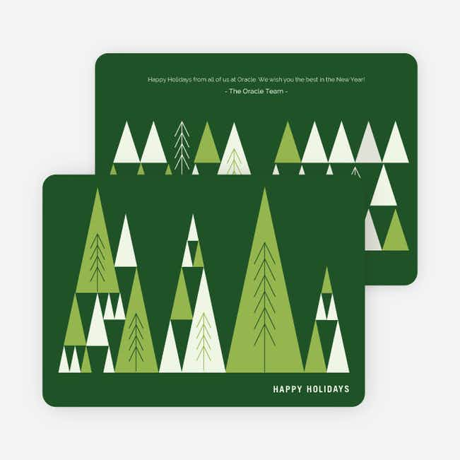 Lush Forest Corporate Holiday Cards - Green