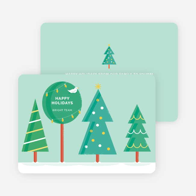 Vintage Tree Corporate Holiday Cards - Green