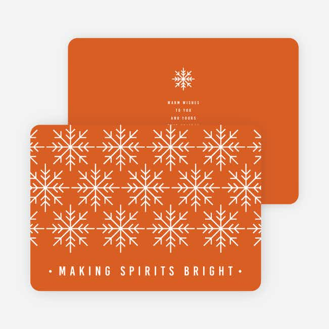 Snowflake Decoration Christmas Cards - Orange