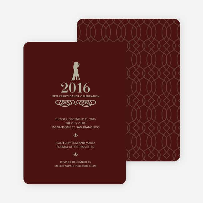 Dance Dance Not So Revolution New Year's Invitations - Cabernet Red