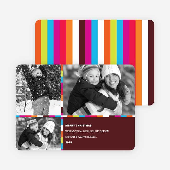 Festive Rainbow Stripes Holiday Photo Cards - Chocolate