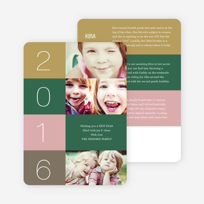 New Year's Blocks Photo Cards - Green