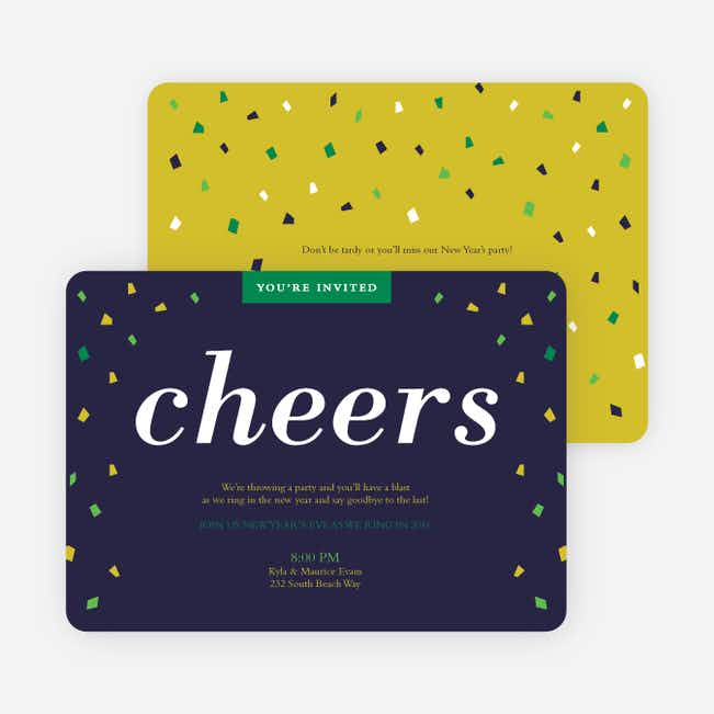 New Year's Confetti Party Invitations - Green