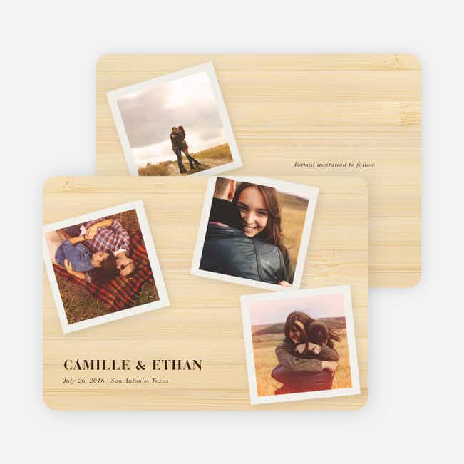 Instant Photo Save the Date Cards with 4 Photos - Bamboo