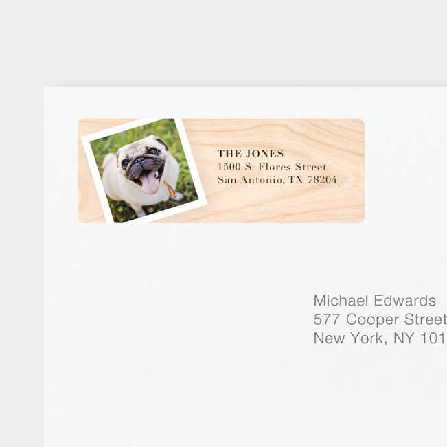 Wood Photo Matching Address Labels - Black