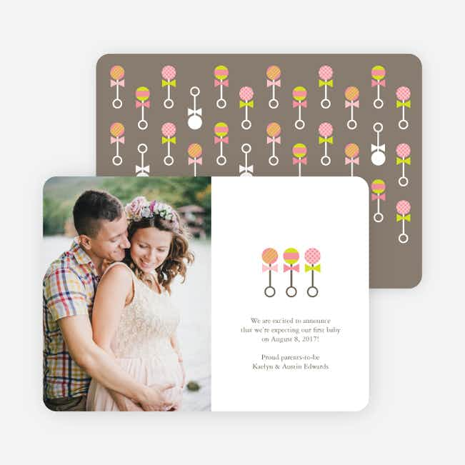 Tattle Rattles Pregnancy Announcement Cards - Pink Rattle