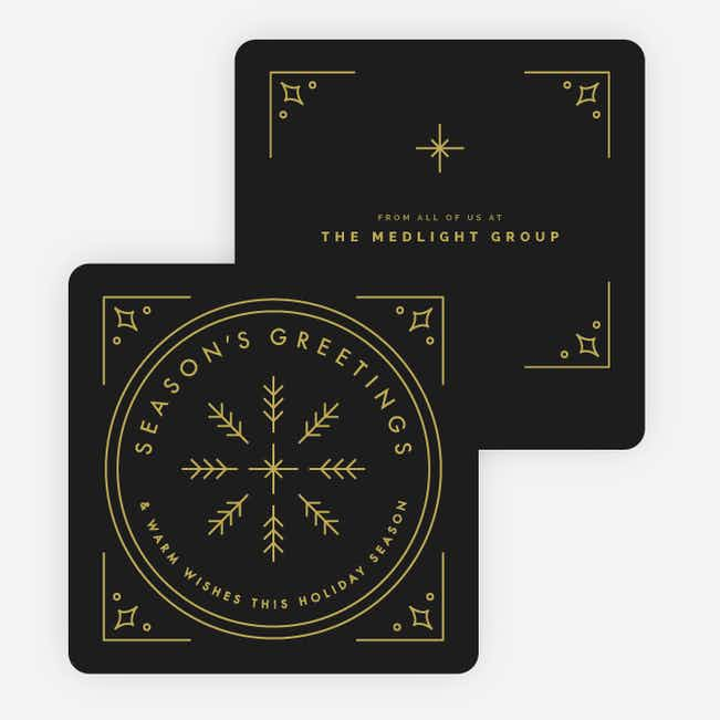 Classic Snowflake Corporate Holiday Cards - Black