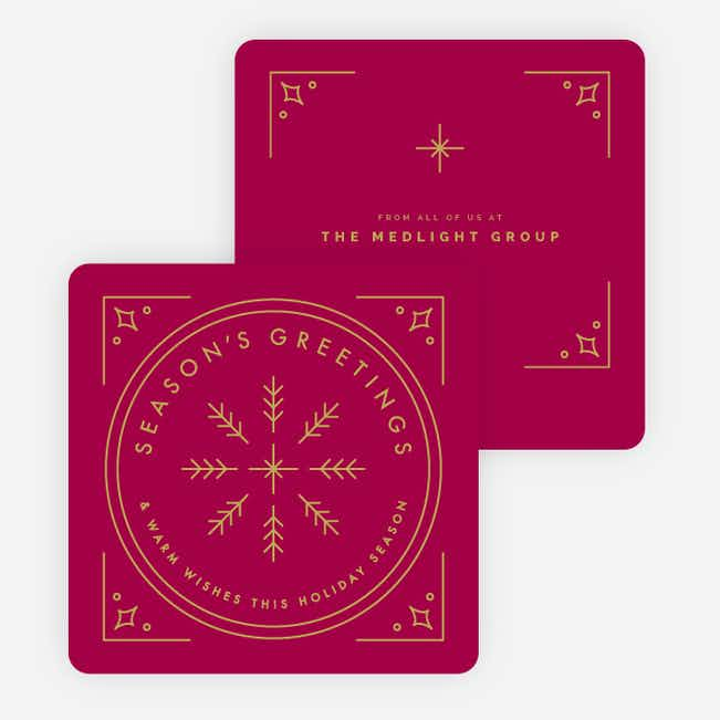 Classic Snowflake Corporate Holiday Cards - Red