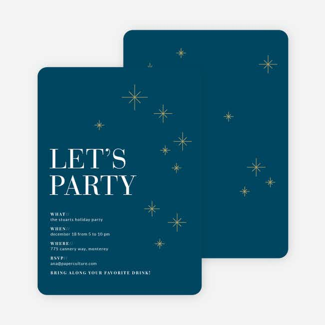 Modern Stars Holiday Party Invitations - Blue