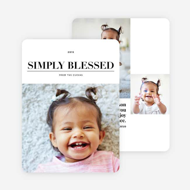 Simply Blessed Christmas Photo Cards - Black