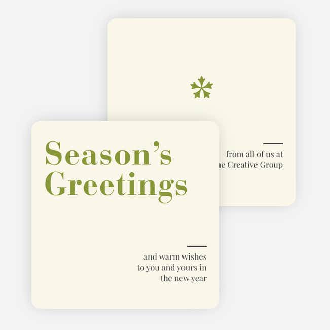 Snowflake Icon Corporate Holiday Cards - Green