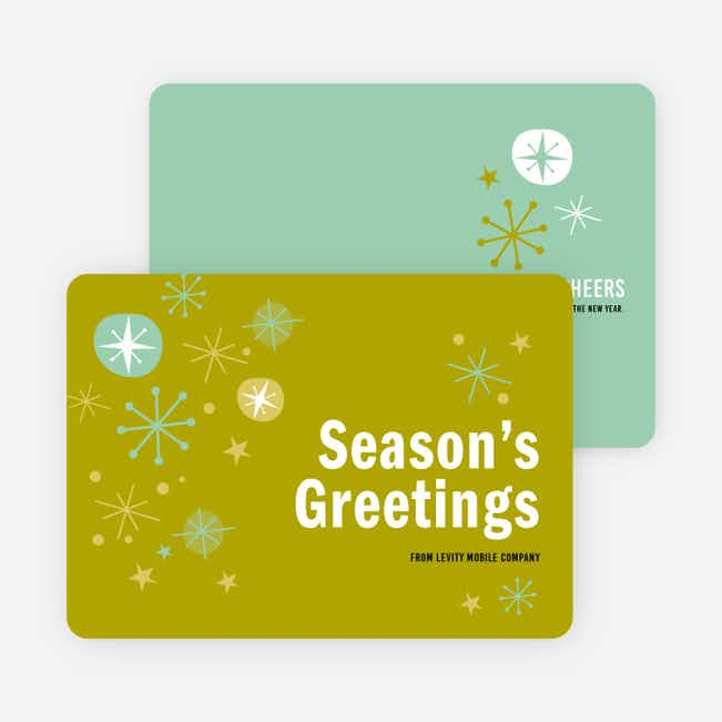 Snowflake Surprise Corporate Holiday Cards - Green