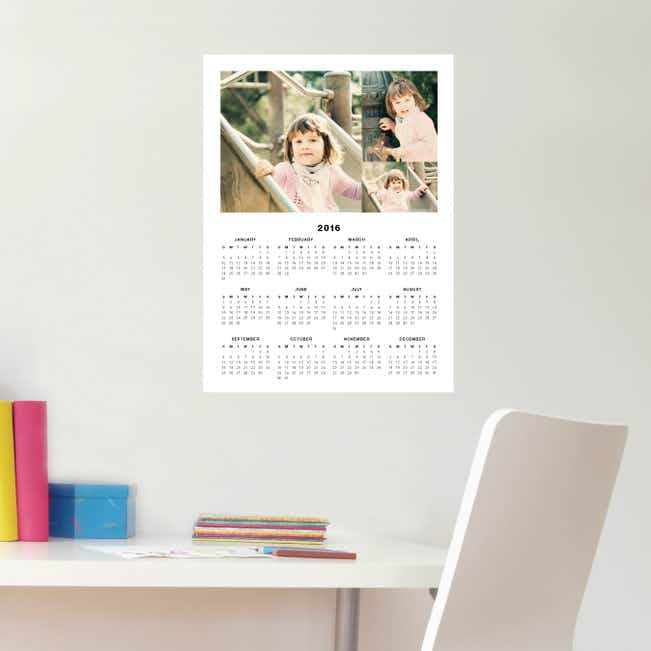 3 Photo Wall Decal Calendars - Black