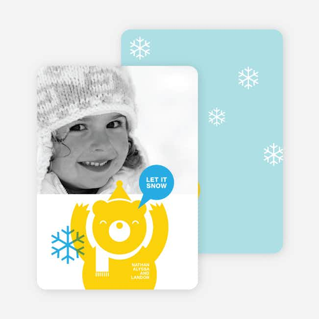 Burt the Bear Holiday Photo Card - Lemon Yellow