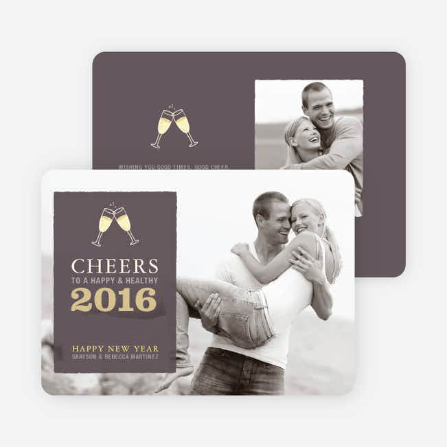 Cheers New Year's Photo Cards - Pebble
