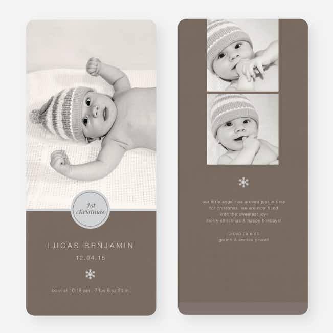Circle Seal Holiday Birth Announcements - Gray
