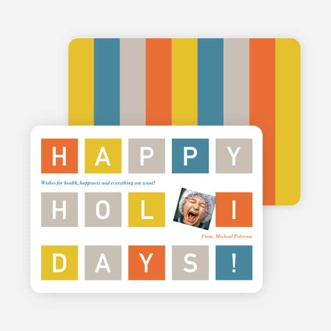 Holiday Block Photo Cards - Nickel
