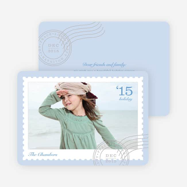 Holiday Stamps Photo Cards - Blue