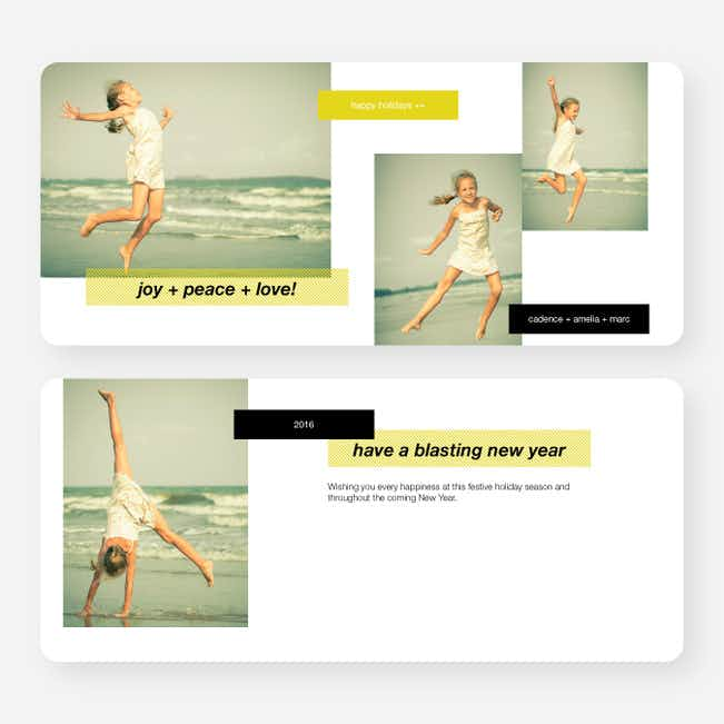 Holiday Tags Photo Cards - Yellow