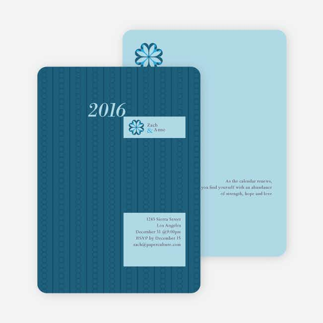 2012 Pattern New Year's Party Invitations - Cadet Blue