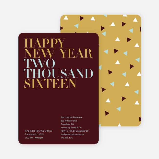 Bold New Year's Eve Party Invitations - Sangria