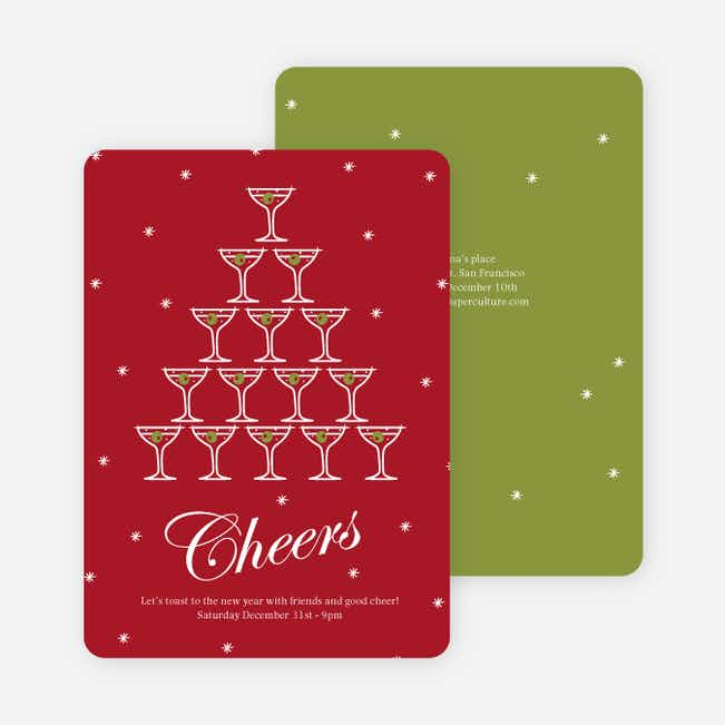 Cheers to the New Year New Year's Party Invitations - Cherry