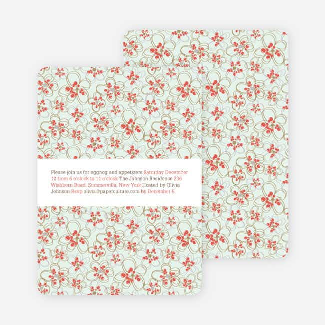 Daisy Pattern Holiday Invitations - Orange Red