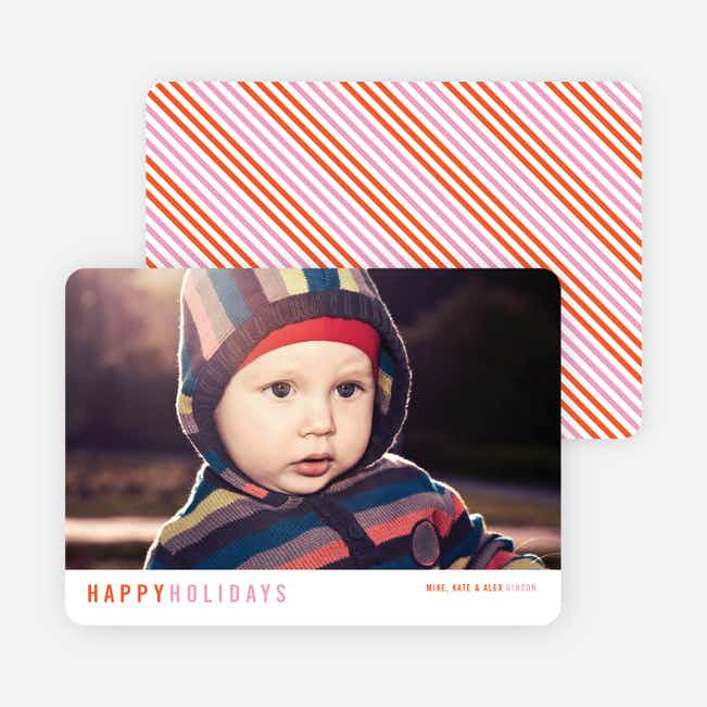 Diagonal Stripes Holiday Cards - Orange