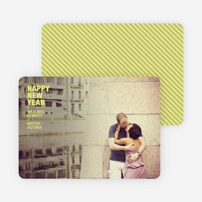 Happy New Years Photo Cards - Neon Yellow